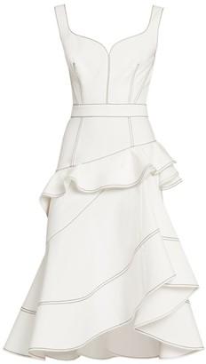 Alexander McQueen Contrast Stitch Denim Ruffle Midi Dress