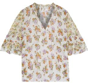 Alice + Olivia Julius Floral-print Cotton And Silk-blend Blouse