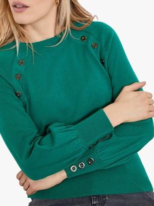 Mint Velvet Button Balloon Sleeve Jumper, Green