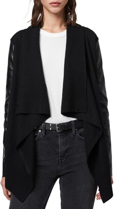 AllSaints Lucia Wool & Leather Cardigan