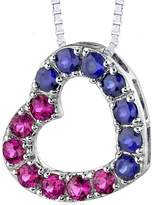 Ice 2 CT TW Ruby and Sapphire Rhodium-Plated Sterling Silver Heart Pendant Necklace