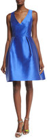 Monique Lhuillier Sleeveless Fit-&-Flare Dress, Cobalt
