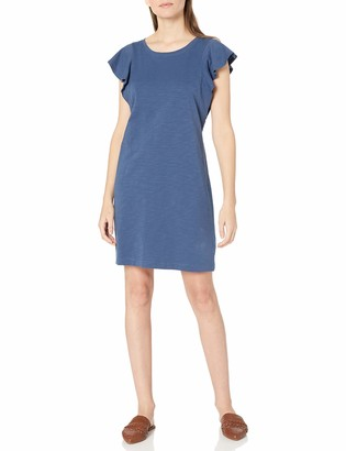 Goodthreads Heavyweight Cotton Slub Ruffle Sleeve Dress
