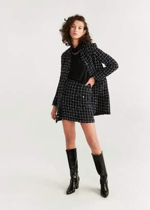 MANGO Check tweed miniskirt black - XS - Women