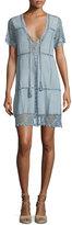 Calypso St. Barth Hydaspe Short-Sleeve Lace-Up Dress, Prana