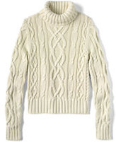 Classic Women's Drifter Aran Turtleneck Sweater Ivory