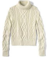Classic Women's Drifter Aran Turtleneck Sweater-White Canvas