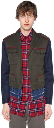 DSQUARED2 Cotton Twill Military Jacket W/denim Hem