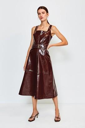 Karen Millen High Shine Leather Square Neck Midi Dress