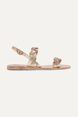 Ancient Greek Sandals Plexi Braided Metallic Leather Sandals - Gold