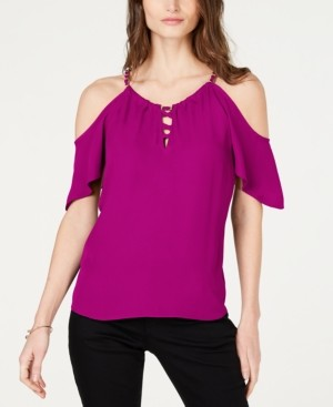 INC International Concepts Inc Lace-Up Cold-Shoulder Top, Created for Macy's