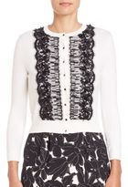 Oscar de la Renta Lace Embroidered Cardigan