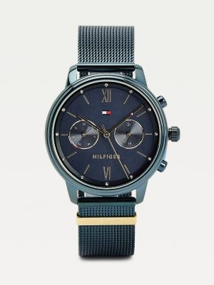 Tommy Hilfiger Engraved Monogram Blue Ionic Plated Watch