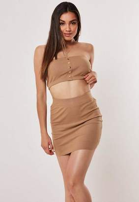Missguided Camel Co Ord Ribbed Mini Skirt