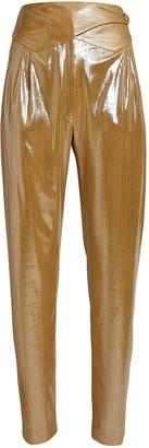 BLAZÉ MILANO Nova Basque High-Rise Metallic Pants