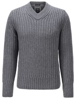 HUGO BOSS V Neck Sweater In Virgin Wool And Cashmere - Grey