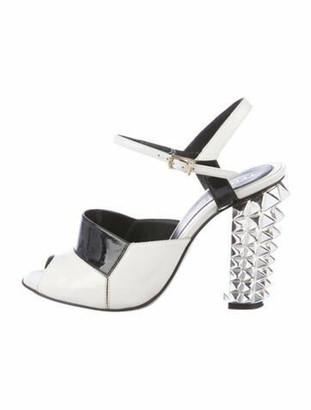 Fendi Patent Peep-Toe Pumps White