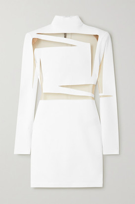 Balmain Tulle-paneled Stretch-knit Mini Dress - White