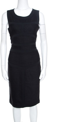 Diane von Furstenberg Grey Slub Knit Wool Panel Detail Sleeveless Sheath Dress L