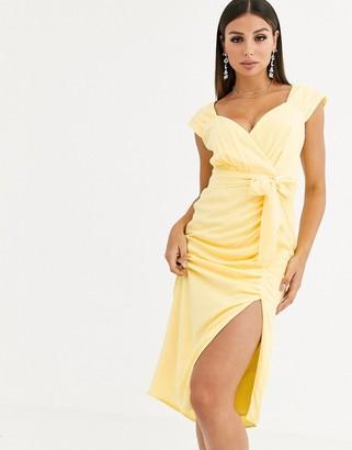 Talulah Radiance gathered belted midi dress-Yellow