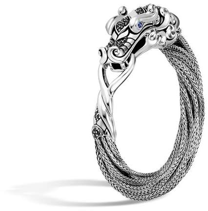 John Hardy Naga Multi Row Bracelet With Black Sapphire, Black Spinel
