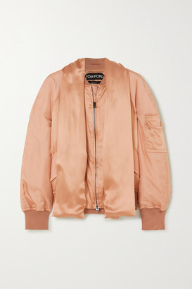 Tom Ford Draped Silk-satin Bomber Jacket - Peach
