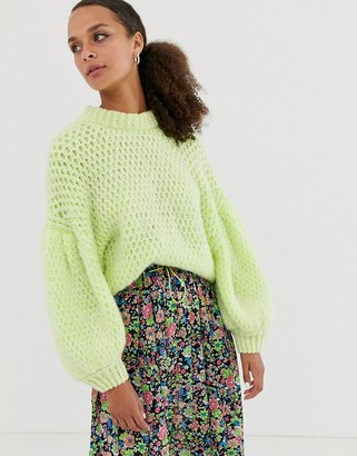 Asos DESIGN neon stitch detail sweater with balloon sleeve