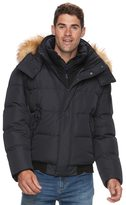 AM Studio by Andrew Marc Men's AM Studio by Andrew Marc Down Faux-Fur Hooded Bomber Jacket