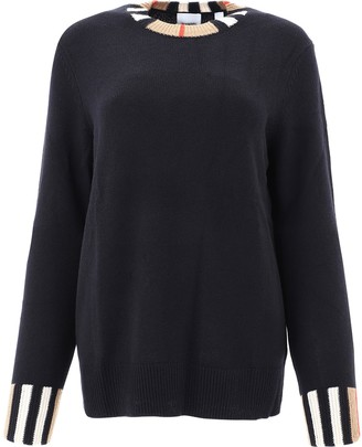 Burberry Icon Stripe Trim Sweater