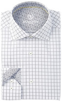 Bugatchi Window Pane Shaped Fit Dress Shirt
