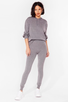 Nasty Gal Womens Leave 'Em to Knit Hoodie and Leggings Lounge Set - Grey