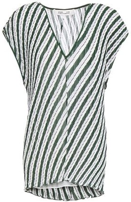 Diane von Furstenberg Striped Plisse-crepe Top
