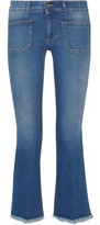 Stella McCartney Cropped Frayed Low-Rise Flared Jeans