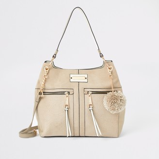River Island Womens Beige zip front slouch bag