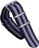 AUTULET Black/Grey Comfortable Awesome Men's One-piece NATO style Nylon Perlon Watch Bands Straps Textile
