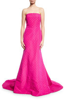 Lela Rose Dotted Strapless Evening Gown, Fuchsia