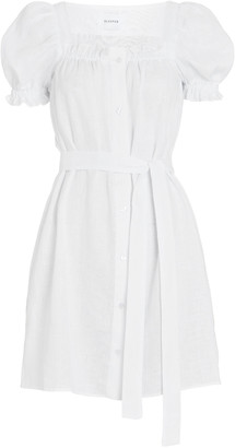 Sleeper Brigitte Linen Tie-Waist Mini Dress