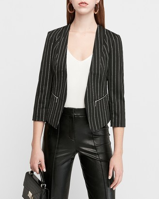 Express Striped Knit Cutaway Blazer