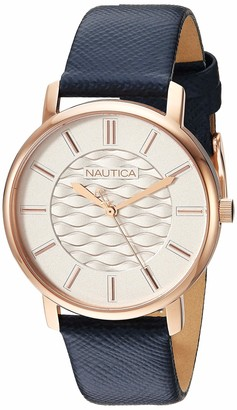 Nautica Women's Coral Gables Stainless Steel Japanese-Quartz Leather Strap Blue 17.6 Casual Watch (Model: NAPCGS011