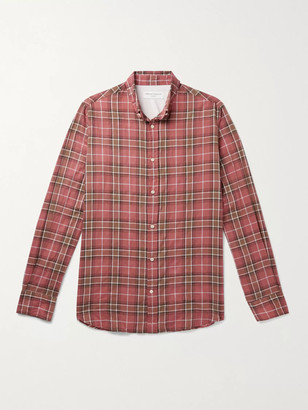 Officine Generale Antime Button-Down Collar Checked Stretch-Cotton Shirt - Men - Pink