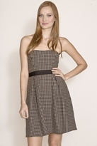 Corey Lynn Calter Haley Houndstooth Strapless Dress in Black/Brown