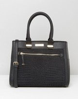 Carvela Tote Bag With Contrast Croc And Zip Pocket