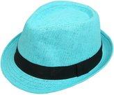 ANGELA & WILLIAM Unisex Classic Fedora Straw Hat with Black Band