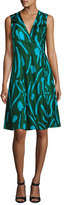 Diane von Furstenberg Sleeveless Side-Tie Flare Dress, Green Pattern