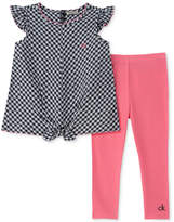 Calvin Klein 2-Pc. Tie-Front Gingham Top & Leggings Set, Little Girls