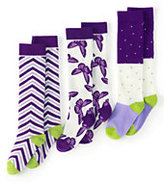 Classic Girls Pattern Knee High Socks (3-pack)-White