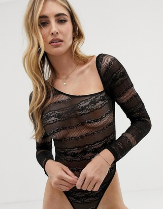 ASOS DESIGN Ritika long sleeve lace bodysuit