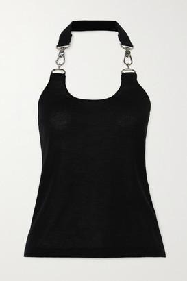 Tom Ford Embellished Cashmere And Silk-blend Halterneck Top - Black
