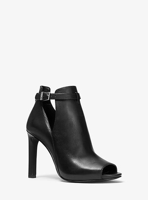 Michael Kors Lawson Leather Open-Toe Ankle Boot
