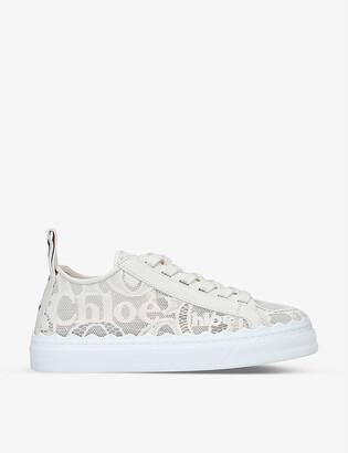 Chloé Lauren brand-motif lace trainers